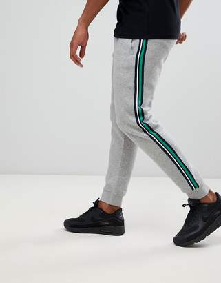 Pull&Bear joggers with side stripe in grey