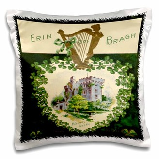 3dRose Erin Go Braugh Blarney Castle (Vintage) - Pillow Case, 16 by 16-inch