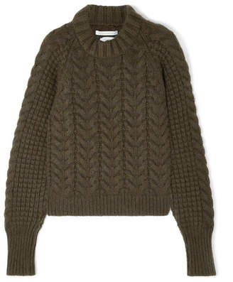 Cecilie Bahnsen - Selma Cable-knit Merino Wool-blend Sweater - Army green