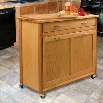 Millwood Pines Triche Pull Out Trash Kitchen Island with Butcher Block Millwood Pines