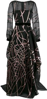 Talbot Runhof sequin embellished evening dress