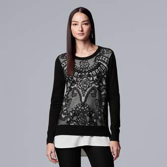 Vera Wang Women's Simply Vera Lace Mock-Layer Sweater