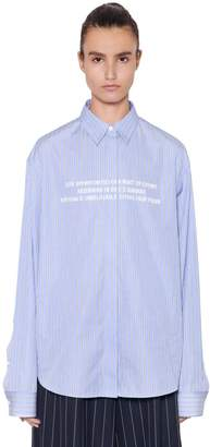 Juun.J Quote Embroidered Striped Cotton Shirt