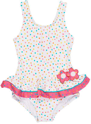 Florence Eiseman Confetti Dot One-Piece Ruffle Swimsuit, Size 6-24 Months