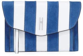 Hayward Bobby Striped Clutch Bag, White/Blue