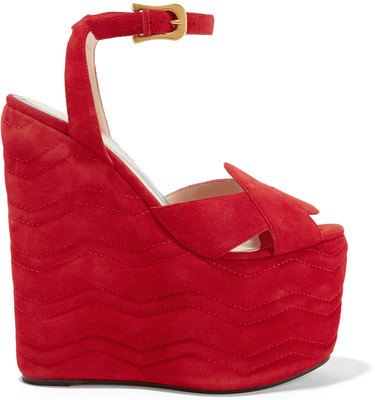Gucci - Quilted Suede Wedge Sandals - Red