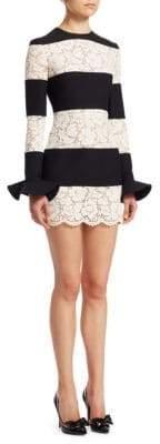 Valentino Lace Inset Striped Dress