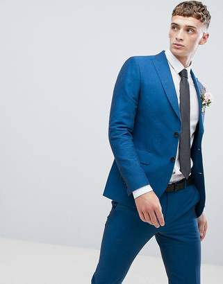 Moss Bros skinny suit jacket in blue linen