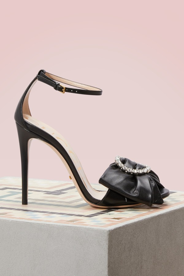 Gucci Leather sandal with removable leather bow