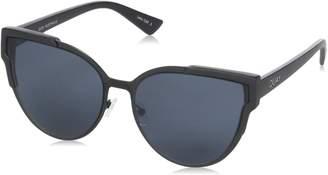 Quay Women's Mirrored Game On QW-000151-BLK/SMK Cat Eye Sunglasses