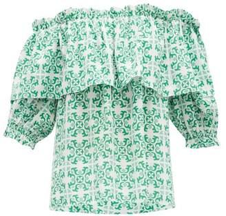 Beulah - Ridhi Tile Print Off Shoulder Silk Top - Womens - Green