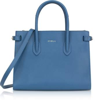 Furla Genziana Blue Leather E/W Pin Small Tote Bag