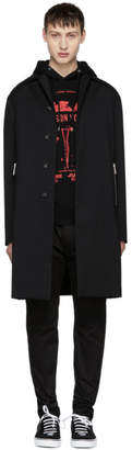 DSQUARED2 Black Wool Zip Coat