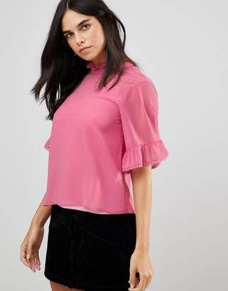 Traffic People 3/4 Sleeve Flute Sleeve Top With Ruffle Detail