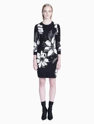 57ac8cb47a2 Calvin Klein floral print 3 4 sleeve sweater dress