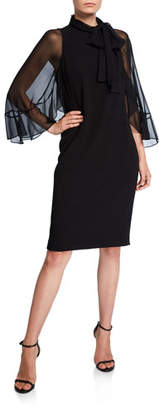 Rickie Freeman For Teri Jon Tie-Neck Sheer-Sleeve Crepe Shift Dress