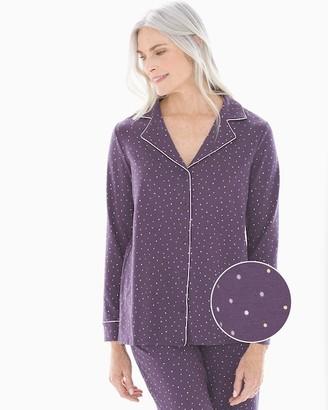 Embraceable Long Sleeve Notch Collar Pajama Top Festivity Black Violet