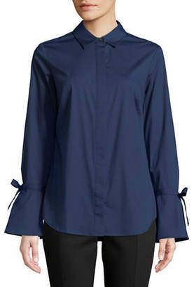 Lord & Taylor Petite Kinsley Bell-Sleeve Button-Down Shirt