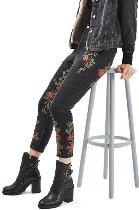 Women's Topshop Mom Rose Embroidered Jeans $110 thestylecure.com