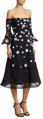 Teri Jon by Rickie Freeman 3D Floral Lace Bell-Sleeve Dress