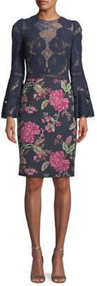Tadashi Shoji Lace Trumpet-Sleeve Cocktail Dress w/ Floral Skirt