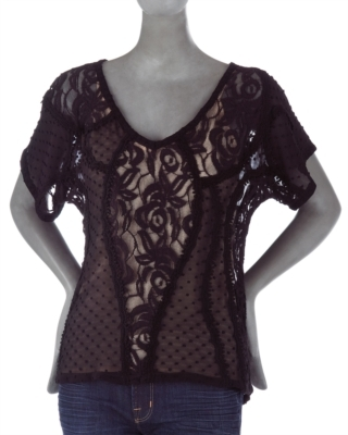 Beyond Vintage Sheer Mixed-Media Top