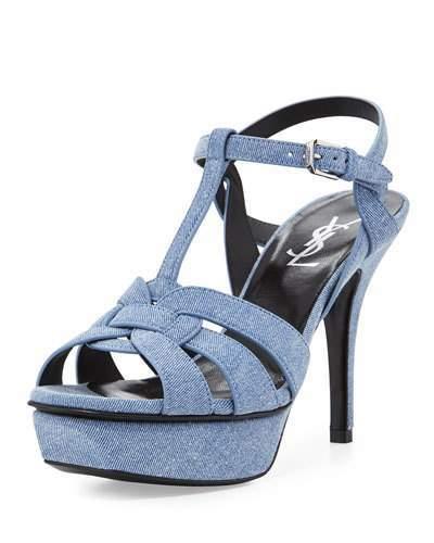 Saint LaurentSaint Laurent Tribute Denim 75mm Platform Sandal, Blue