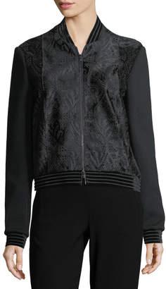 Elie Tahari Brandy Velvet-Trim Calf Hair Bomber Jacket