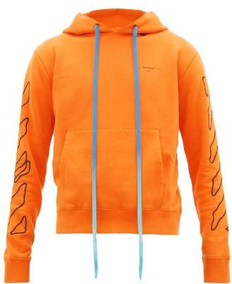 Off-White Off White Abstract Arrows Cotton Jersey Hooded Sweatshirt - Mens - Orange Multi