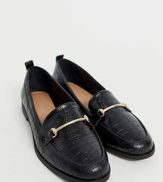 New Look leather look loafer in black croc