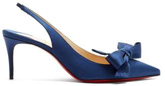 Christian Louboutin Yasling 70 Slingback Satin Pumps - Womens - Navy