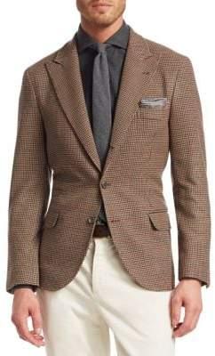 Brunello Cucinelli Cashmere & Wool Houndstooth Blazer