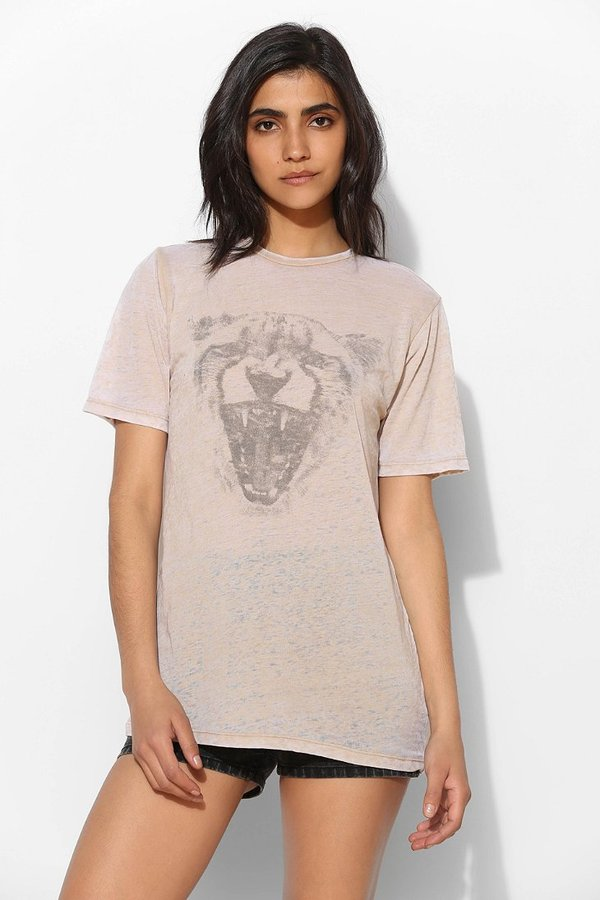 Truly Madly Deeply Tan Leopard Head Burnout Tee
