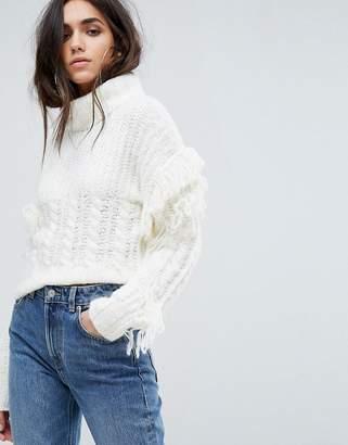 PrettyLittleThing Roll Neck Fringe Detail Sweater