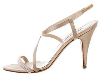 Oscar de la Renta Beaded Satin Sandals