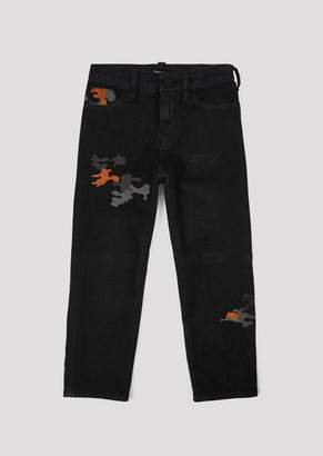 Emporio Armani Comfort Twill Denim Jeans With Camouflage Embroidery