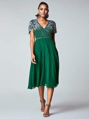 Virgos Lounge Wrap Front Embellished Midi Dress - Green