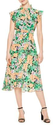 Sandro Ruffle Neck Floral Silk Dress