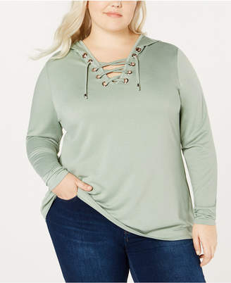 Belldini Belle by Plus Size Lace-Up Hooded Top