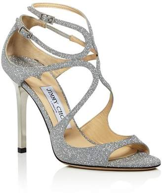 Jimmy Choo Women's Lang Glitter Leather Strappy High-Heel Sandals