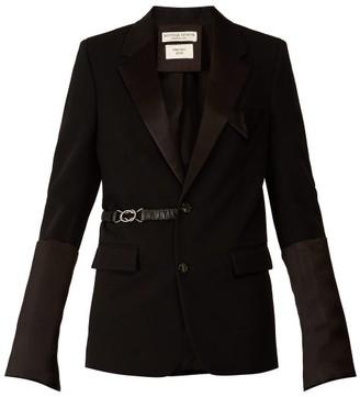 Bottega Veneta Satin Trim Belted Single Breasted Wool Blazer - Womens - Black