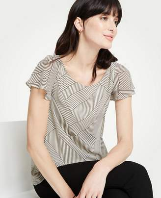 Ann Taylor Petite Intersecting Stripe Flutter Sleeve Woven Overlay Top