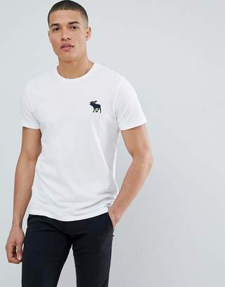 Abercrombie & Fitch large Pop icon crew neck t-shirt in white