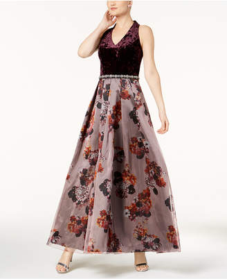 Sl Fashions Embellished Crushed Velvet & Floral-Print Gown