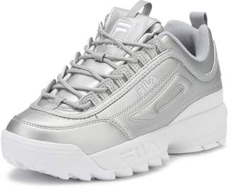 Fila Womens Metallic Silver Disruptor II Premium Sneakers-UK 6