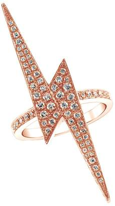 Lightning Bolt Wishrocks Round Pave White Cubic Zirconia Long Ring in 18K Gold Over Sterling Silver