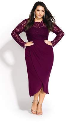 City Chic Citychic Elegant Lace Dress - bordeaux