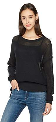 True Angel Women's Long-Sleeve Wide Neck Pullover Sweater with Lace-Up Hem