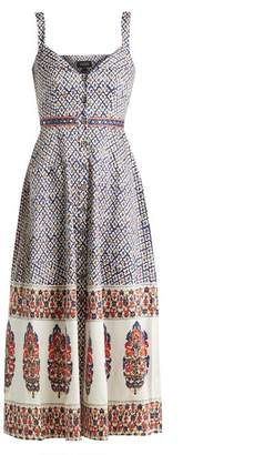Saloni Fara Printed Cotton Blend Dress - Womens - Navy Multi