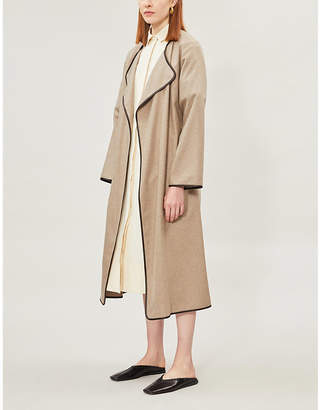 The Row Helga belted leather-trim cashmere coat